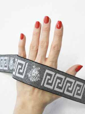 Резинка серый меланж с орнаментом (t0810) т-27 - Фото 12