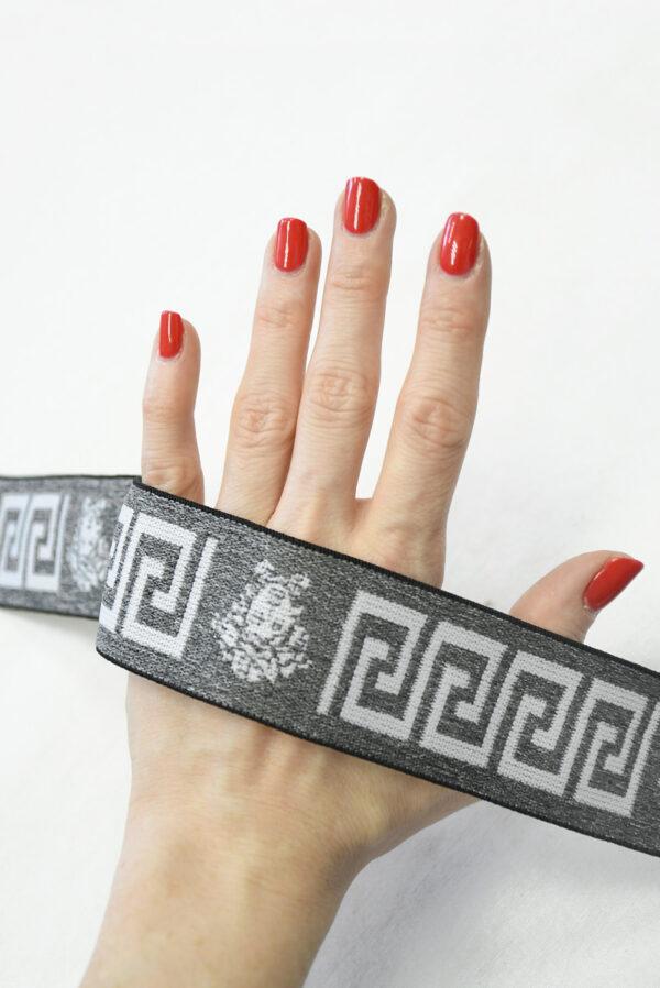 Резинка серый меланж с орнаментом (t0810) т-27 - Фото 7