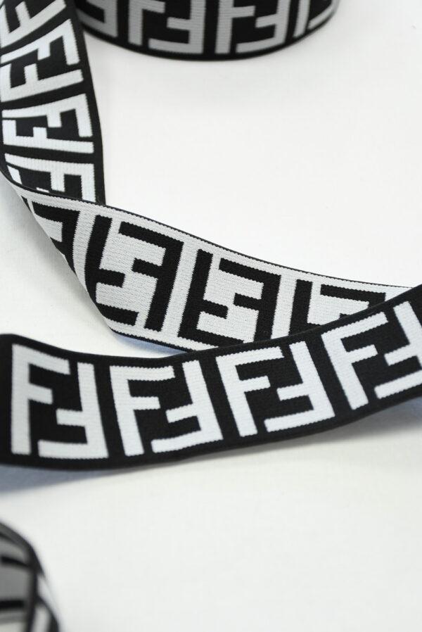Резинка черная с белыми буквами F (t0811) т-16 - Фото 9