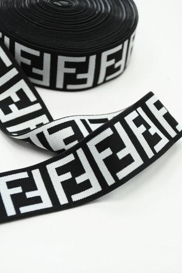 Резинка черная с белыми буквами F (t0811) т-16 - Фото 8