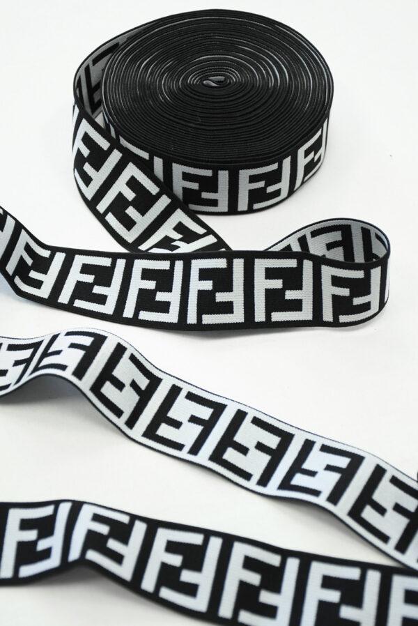 Резинка черная с белыми буквами F (t0811) т-16 - Фото 6