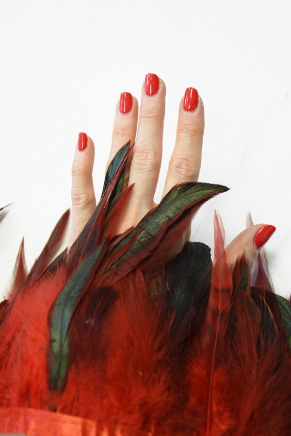 Перья страуса красные с черным (t0817) т-26 - Фото 7