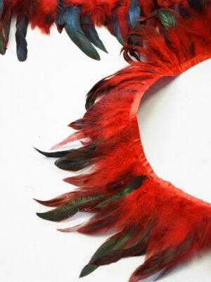 Перья страуса красные с черным (t0817) т-26 - Фото 15