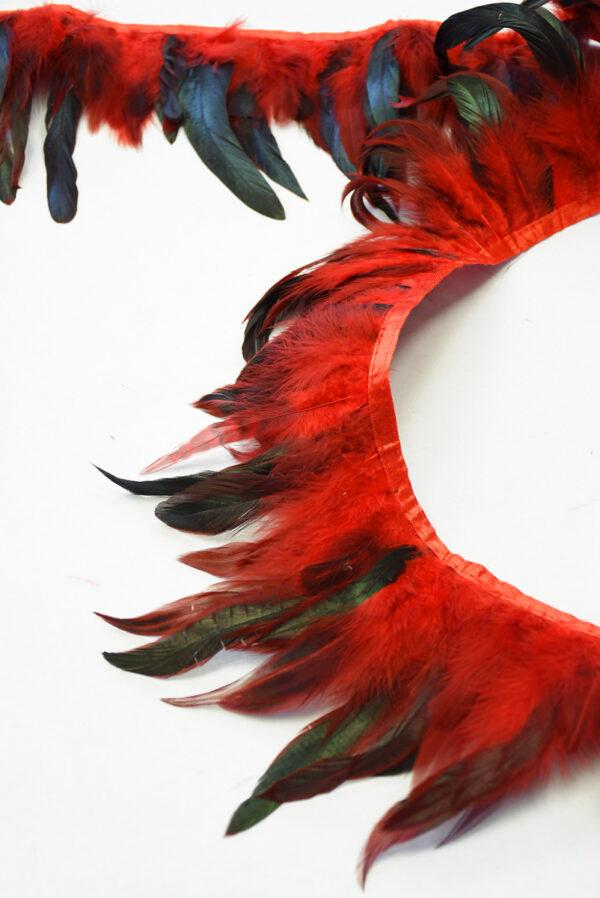 Перья страуса красные с черным (t0817) т-26 - Фото 6