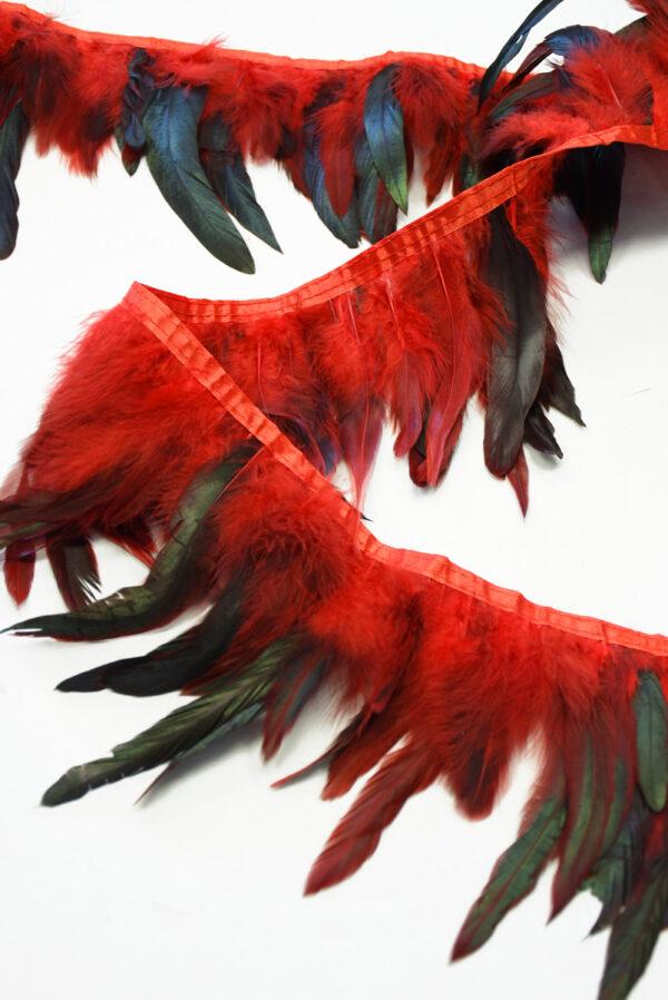 Перья страуса красные с черным (t0817) т-26 - Фото 9