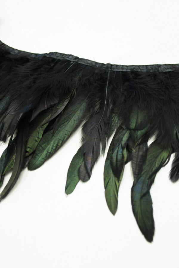 Перья страуса зеленые с черным (t0819) т-26 - Фото 8
