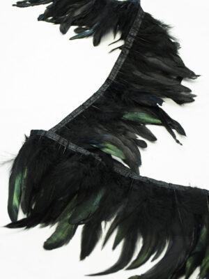 Перья страуса зеленые с черным (t0819) т-26 - Фото 12