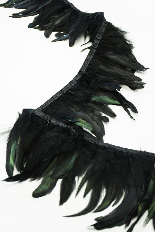 Перья страуса зеленые с черным (t0819) т-26 - Фото 6