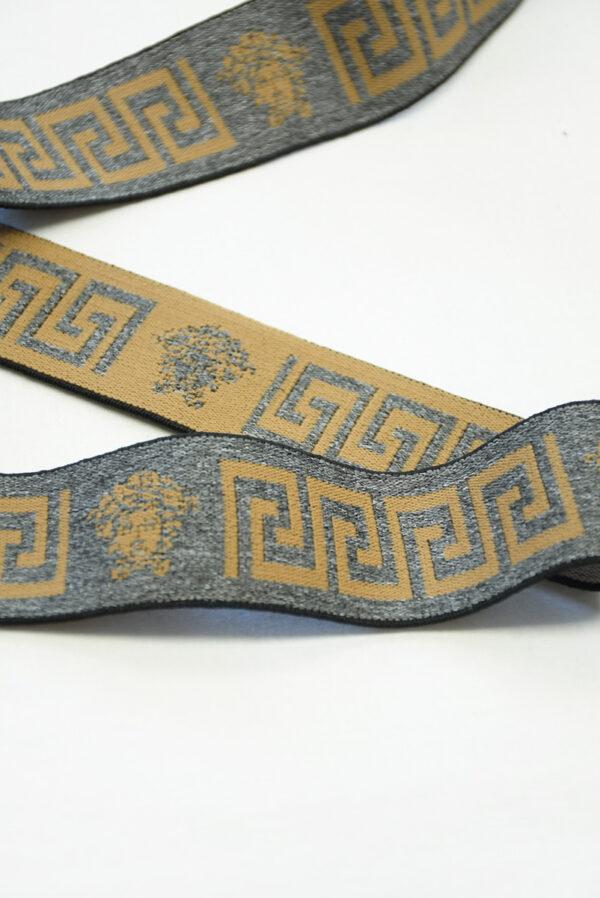 Резинка серый меланж с коричневым орнаментом (t0822) т-27 - Фото 8