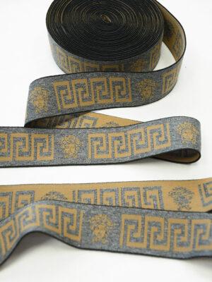 Резинка серый меланж с коричневым орнаментом (t0822) т-27 - Фото 13