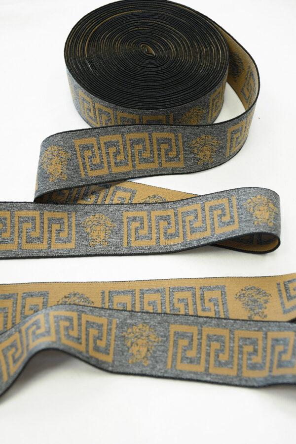 Резинка серый меланж с коричневым орнаментом (t0822) т-27 - Фото 6
