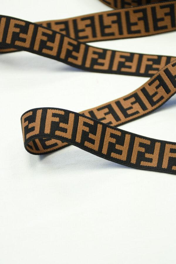 Резинка коричневая с черными буквами F (t0825) т-16 - Фото 8