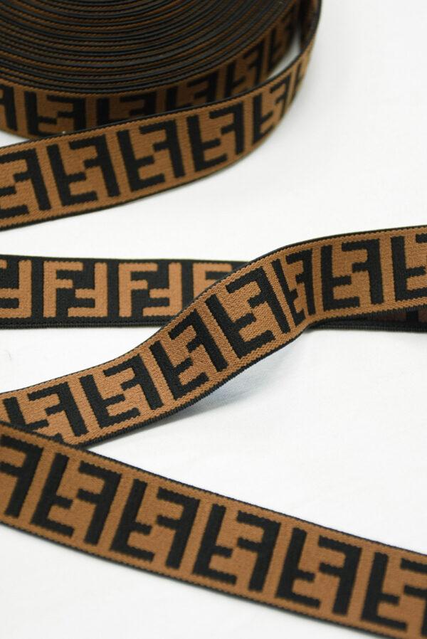 Резинка коричневая с черными буквами F (t0825) т-16 - Фото 9