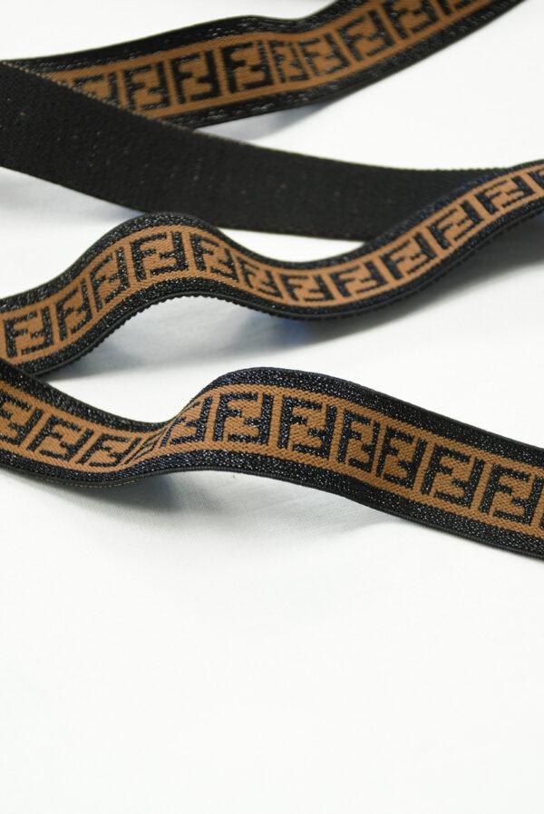Резинка коричневая с люрексом и черными буквами F (t0826) т-16 - Фото 8