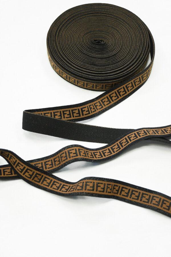 Резинка коричневая с люрексом и черными буквами F (t0826) т-16 - Фото 6