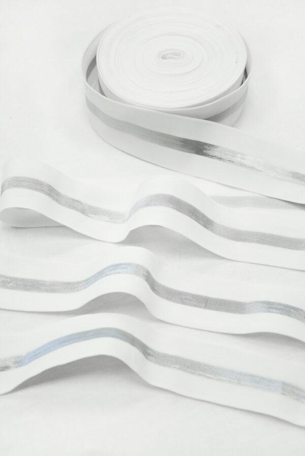Резинка белая с серебристой полоской (t0827) т-27 - Фото 6