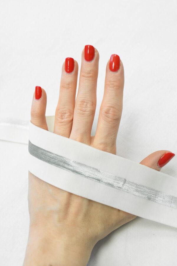 Резинка белая с серебристой полоской (t0827) т-27 - Фото 7
