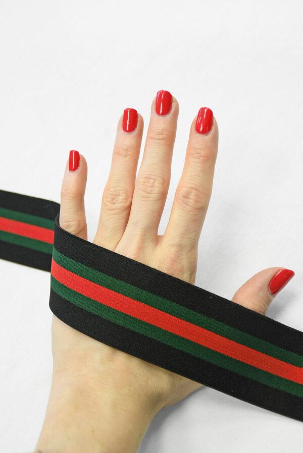 Резинка черная в красную и зеленую полоску (t0828) т-16 - Фото 8