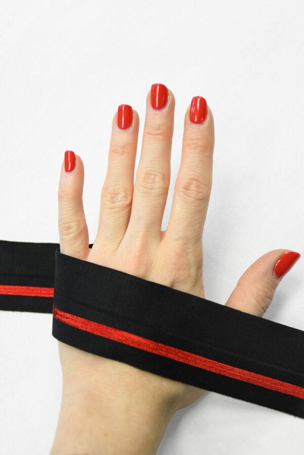 Резинка черная с красной полоской (t0830) т-16 - Фото 8