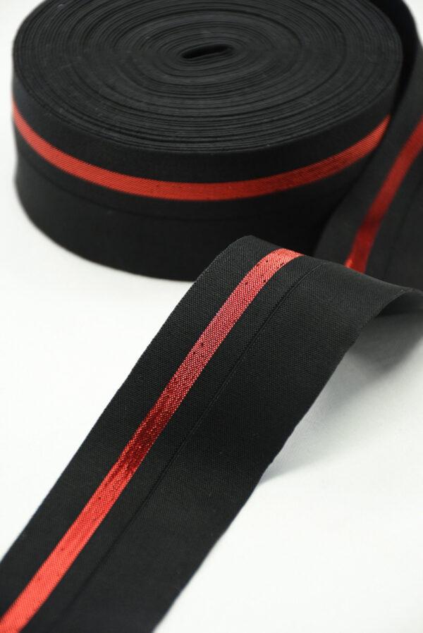 Резинка черная с красной полоской (t0830) т-16 - Фото 7