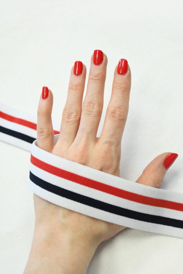 Резинка белая в тонкую красную и черную полоску (t0832) т-27 - Фото 7
