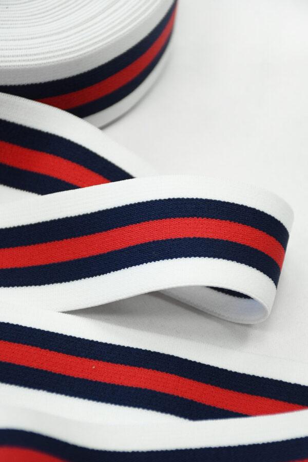 Резинка белая в красную и синюю полоску (t0834) т-27 - Фото 8