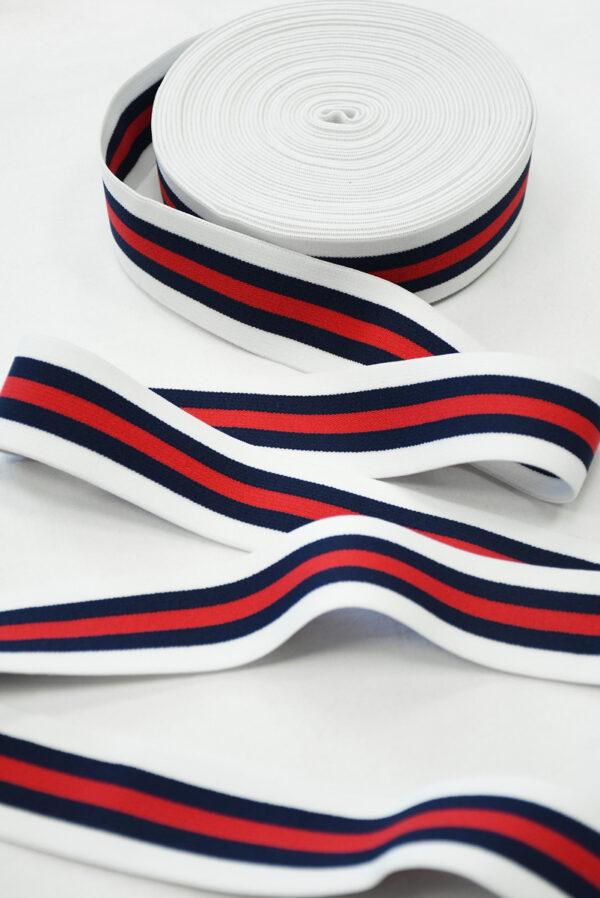 Резинка белая в красную и синюю полоску (t0834) т-27 - Фото 6