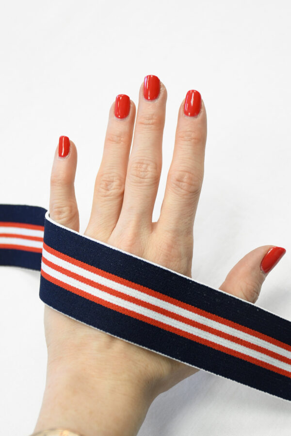 Резинка синяя в красную и белую полоску (t0835) т-16 - Фото 8