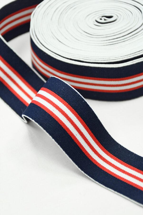Резинка синяя в красную и белую полоску (t0835) т-16 - Фото 7