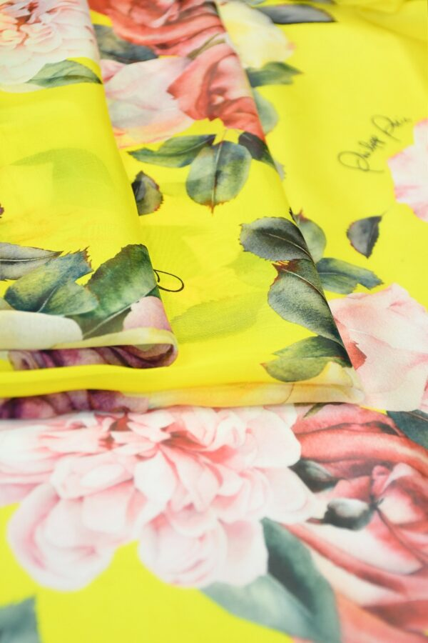 Шифон шелк желтый с розами (10092) - Фото 8