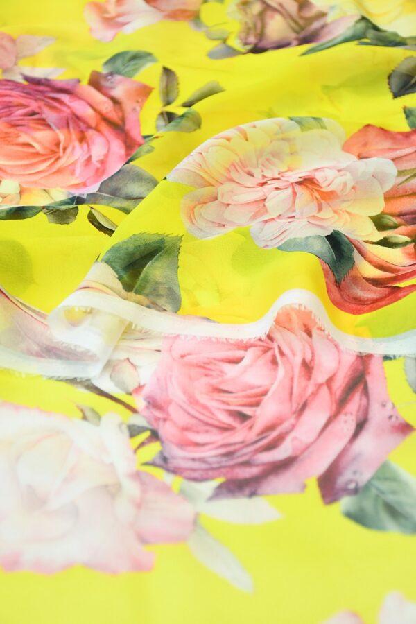 Шифон шелк желтый с розами (10092) - Фото 10