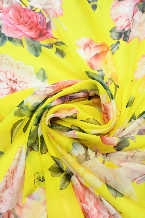 Шифон шелк желтый с розами (10092) - Фото 9