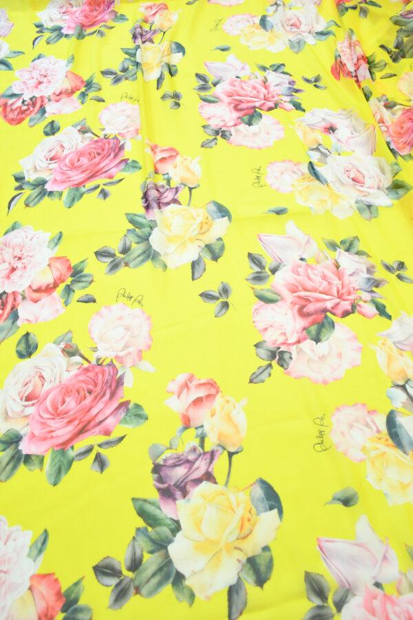 Шифон шелк желтый с розами (10092) - Фото 11