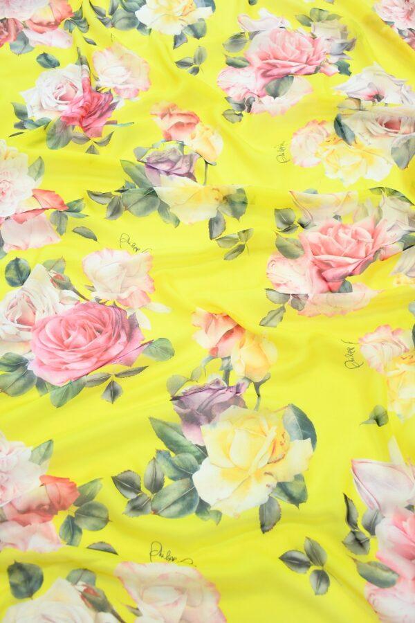 Шифон шелк желтый с розами (10092) - Фото 6