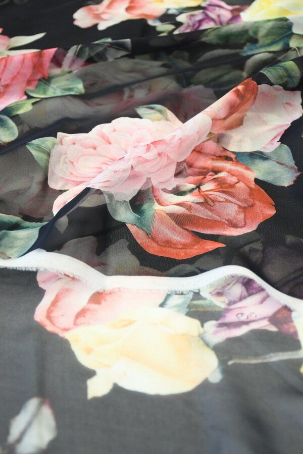Шифон шелк черный с розами (10093) - Фото 11