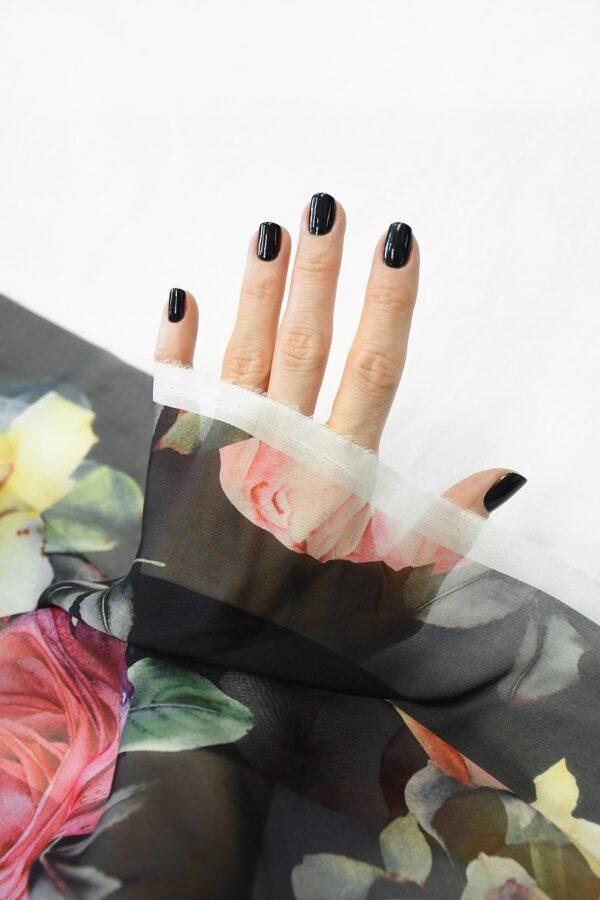 Шифон шелк черный с розами (10093) - Фото 7