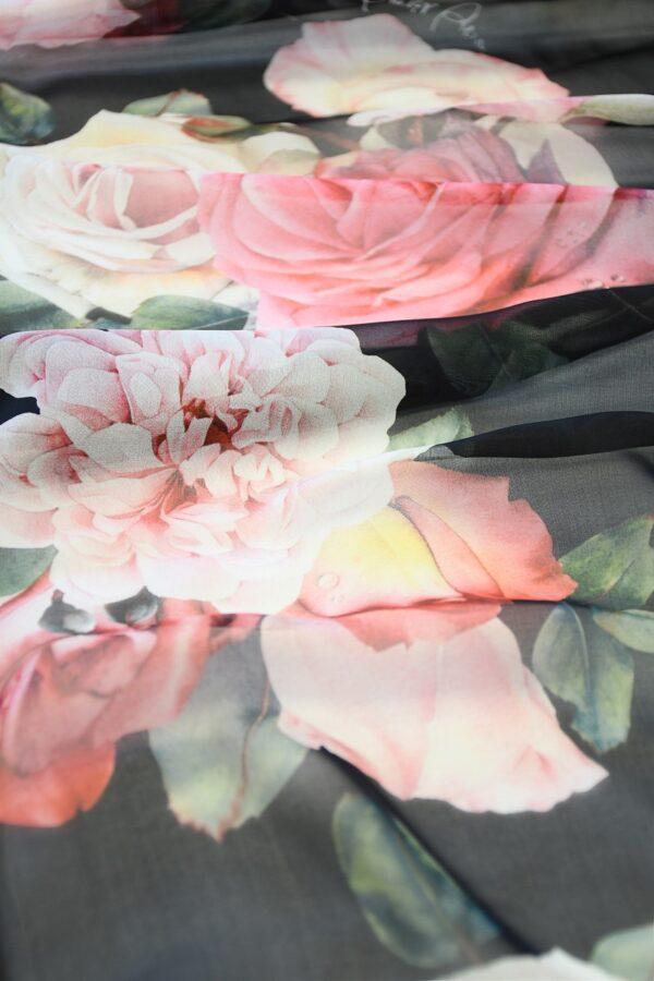 Шифон шелк черный с розами (10093) - Фото 10