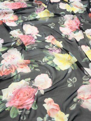 Шифон шелк черный с розами (10093) - Фото 12