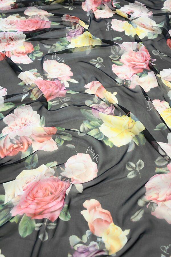 Шифон шелк черный с розами (10093) - Фото 6