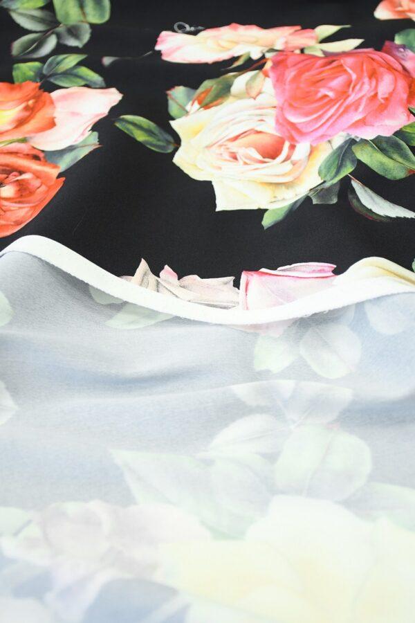 Креп стрейч черный с розами (10094) - Фото 10
