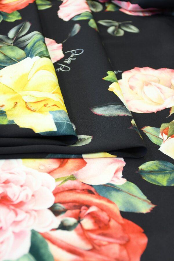 Креп стрейч черный с розами (10094) - Фото 9