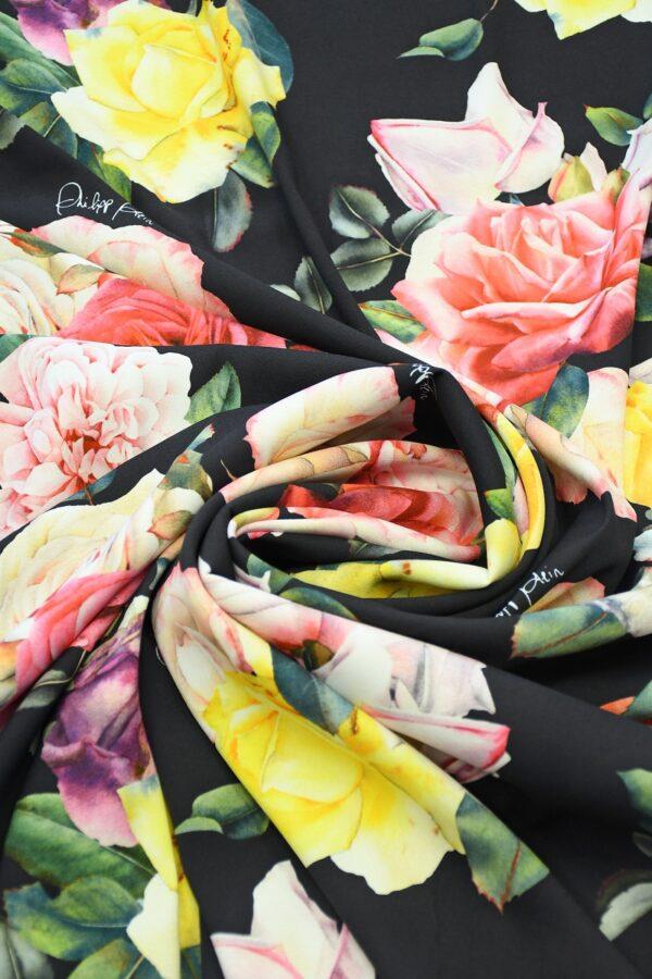 Креп стрейч черный с розами (10094) - Фото 8