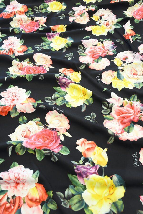 Креп стрейч черный с розами (10094) - Фото 6