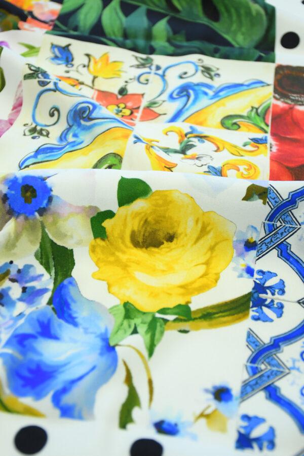 Шелк стрейч с майоликой и розами (10106) - Фото 11