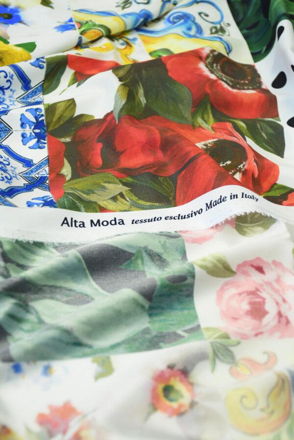 Шелк стрейч с майоликой и розами (10106) - Фото 9