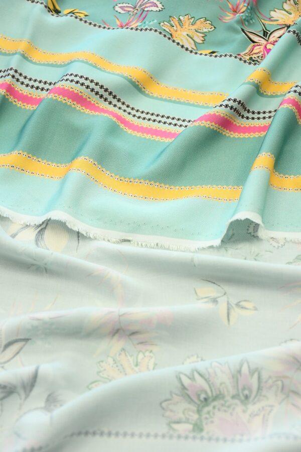 Штапель мятный с цветами и каймой (10111) - Фото 9