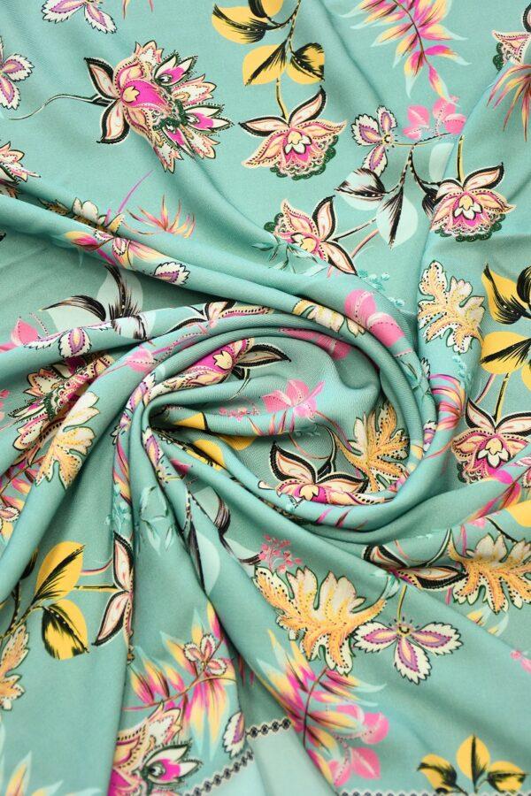 Штапель мятный с цветами и каймой (10111) - Фото 8