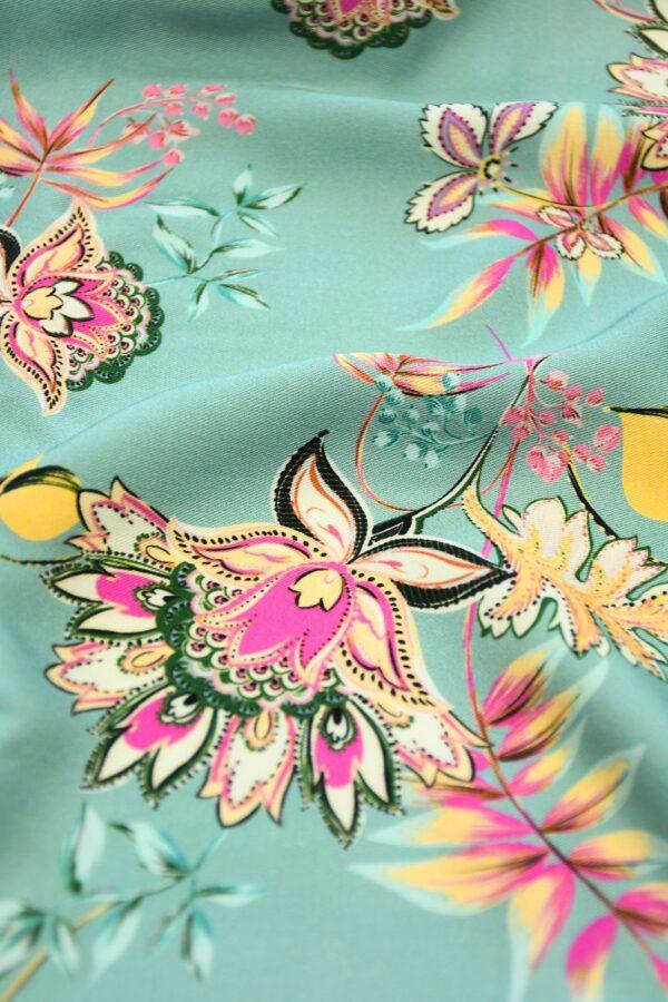 Штапель мятный с цветами и каймой (10111) - Фото 11
