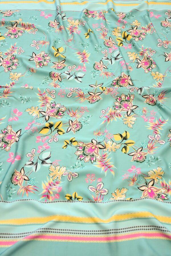 Штапель мятный с цветами и каймой (10111) - Фото 6