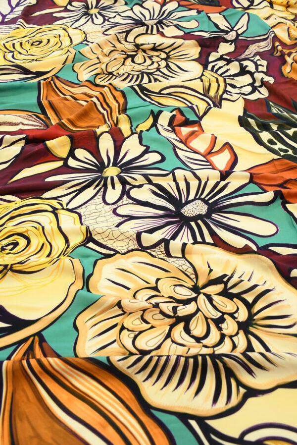 Штапель с цветами в оранжевых и бирюзовых тонах (10120) - Фото 6